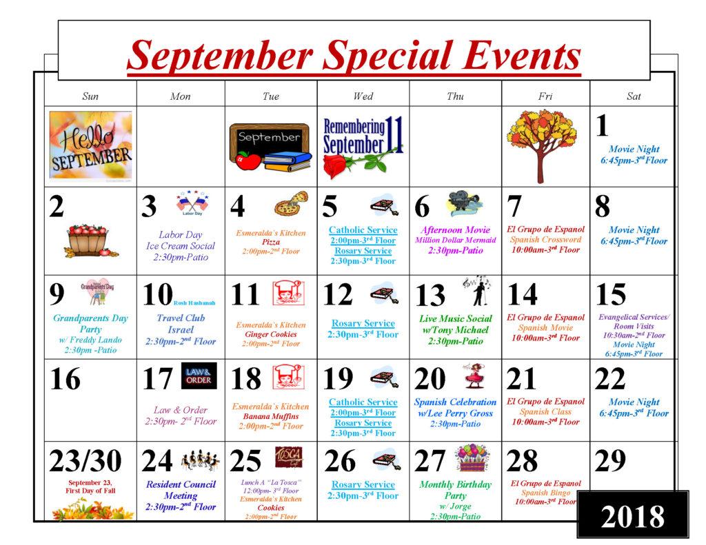 September 2018 Activity Calendar