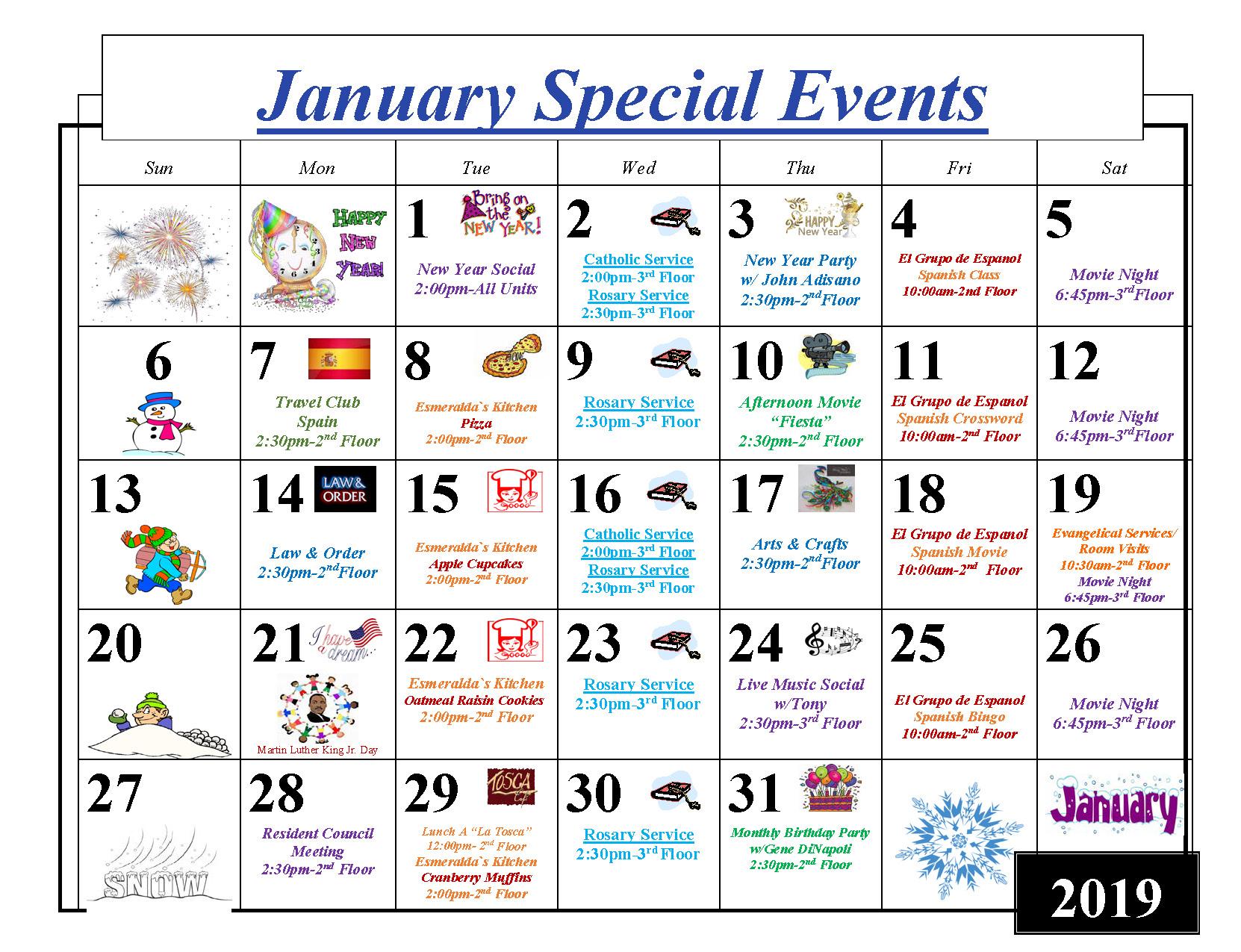 January 2019 activity calendar