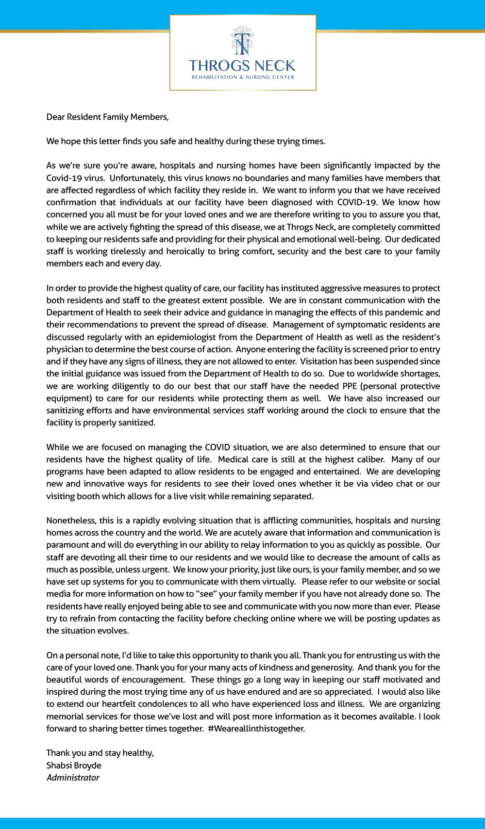 Resident Letter