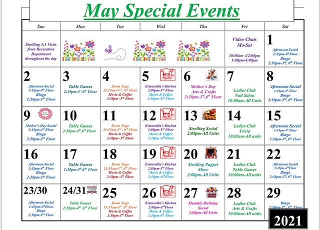 Throgs Neck May 2021 Event Calendar