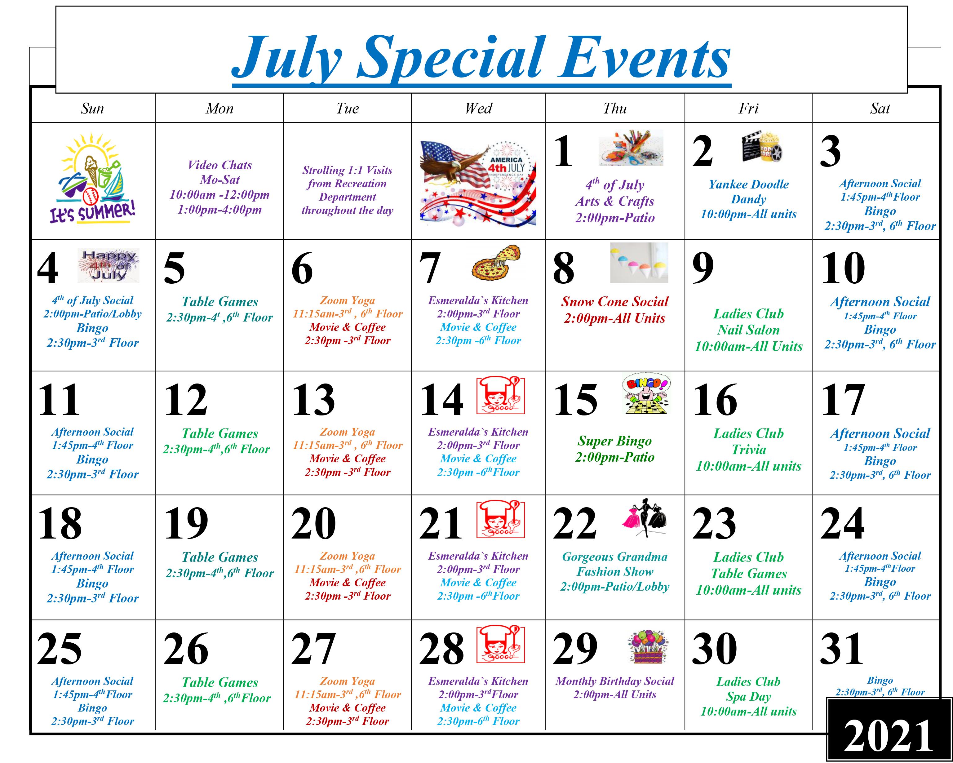 July 2021 Event Calendar