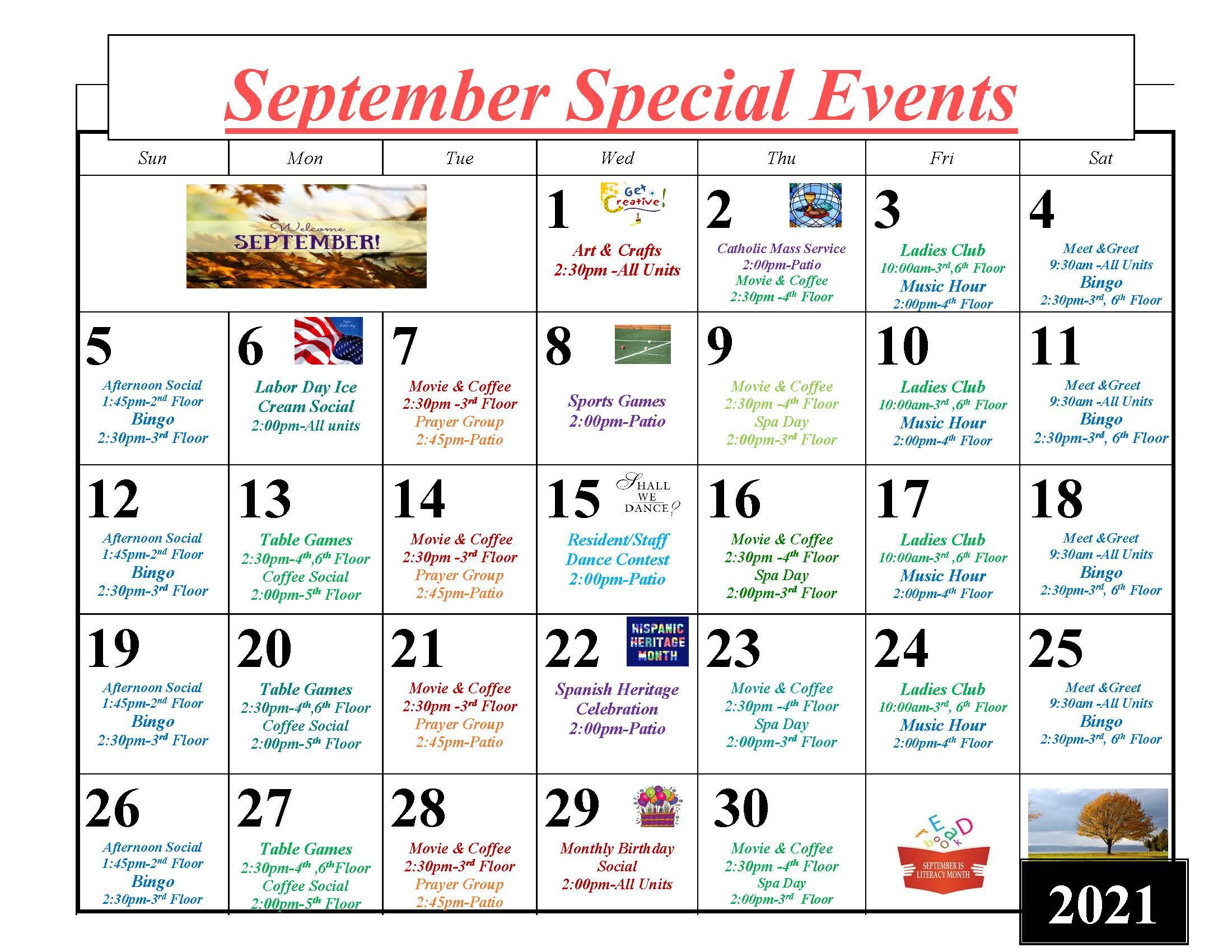 Throgs Neck September 2021 Event Calendar